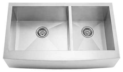 "33"" Zero Radius Curved Front Stainless Steel Double Bowl Apron Sink 15 Gauge ZRA3320"