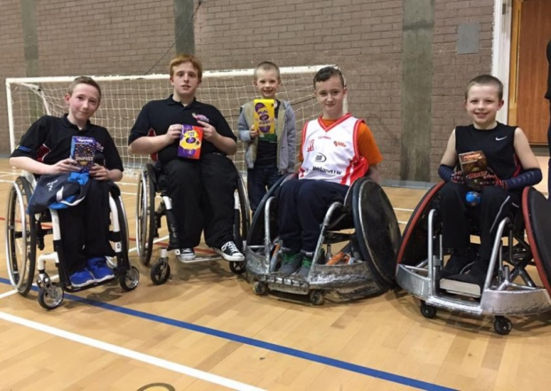 Members of the Ulster Barbarians Wheelchair Rugby who received eggs from this year's Easter Egg Run