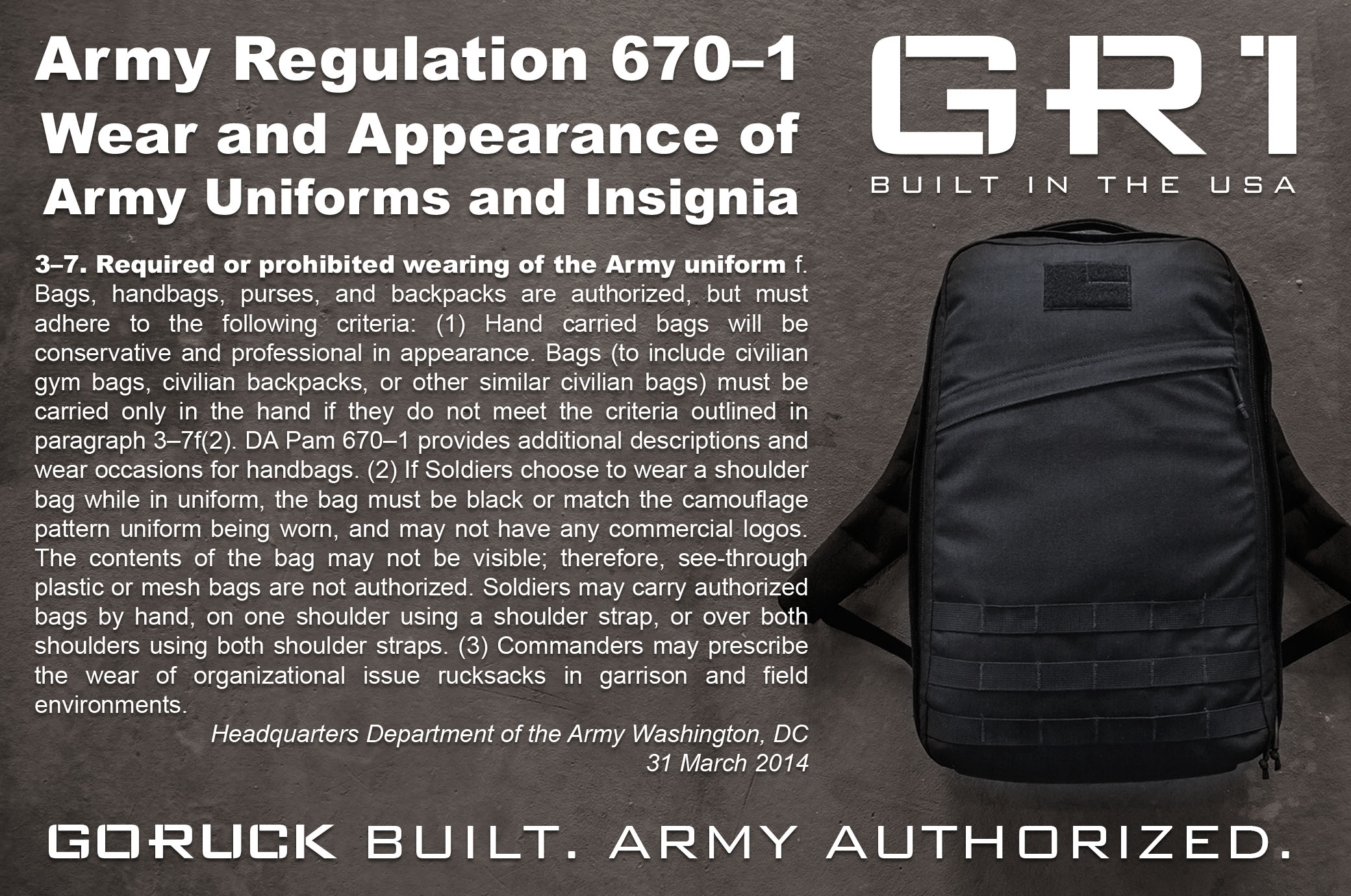 No Logos and Black Is the New Black Just Reference Army Regulation 670-1